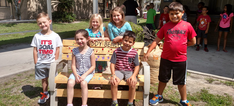 Image for Buddy Bench promotes friendships and inclusion at Alafia Elementary
