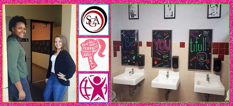 Image for Motivational affirmations replace mirrors at Strawberry Crest restrooms