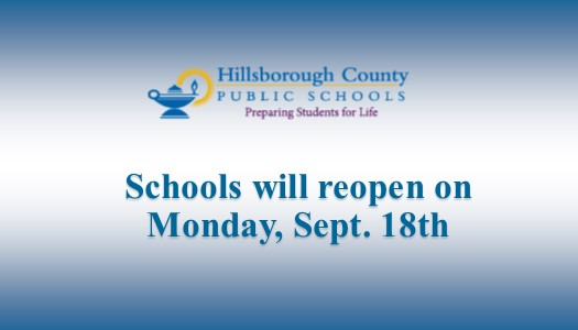 Image for Schools will reopen on Monday, Sept. 18th