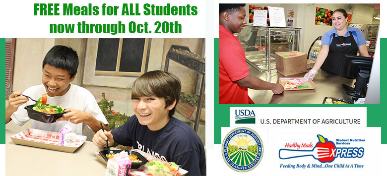 Image for Free Meals for ALL Students through October 20th