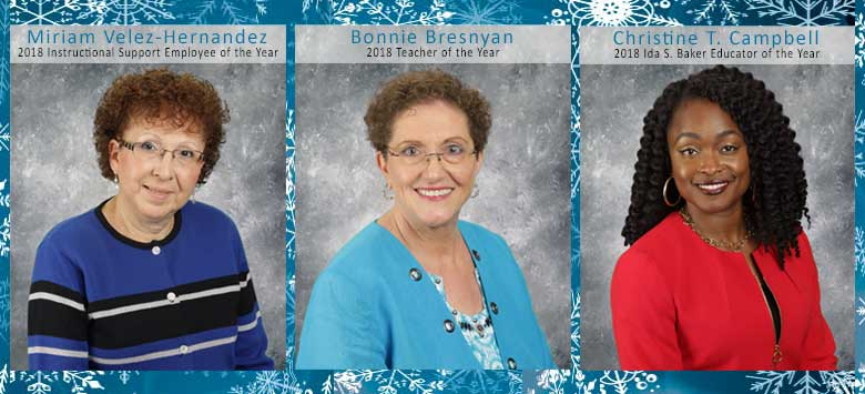 Image for Bonnie Bresnyan, Miriam Velez-Hernandez and Christine Campbell win Excellence in Education awards