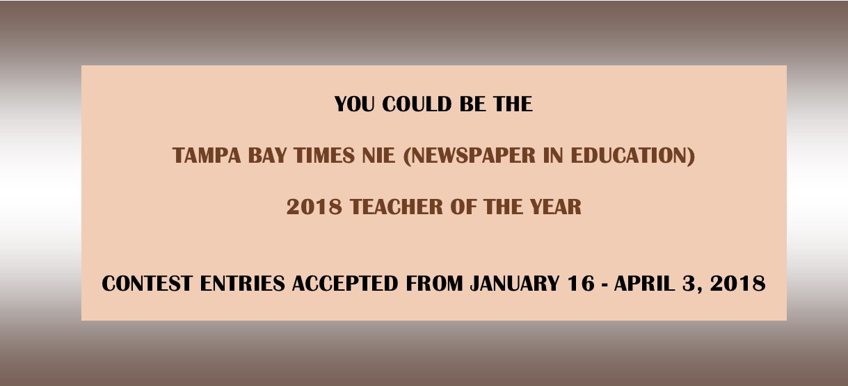 Image for Contest: 2018 Tampa Bay Times NIE Teacher of the Year