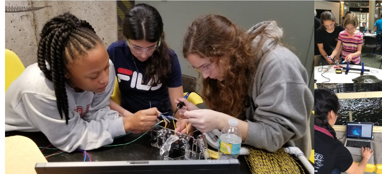 Image for Girls from underserved backgrounds build and test their own underwater robots with National Geographic Explorer