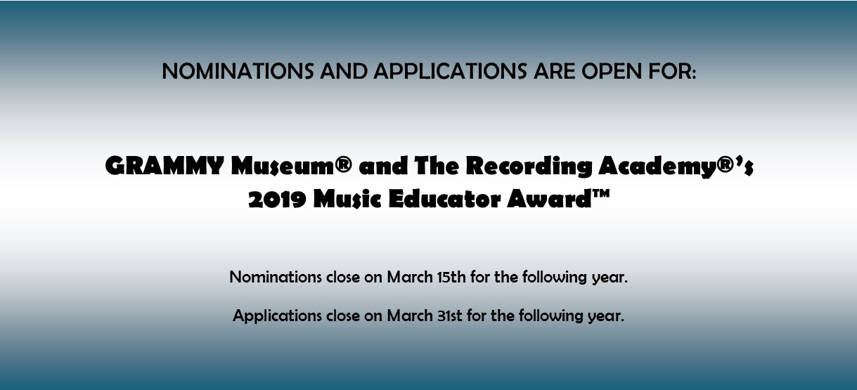 Image for Contest: GRAMMY Museum® and The Recording Academy®'s 2019 Music Educator Award™