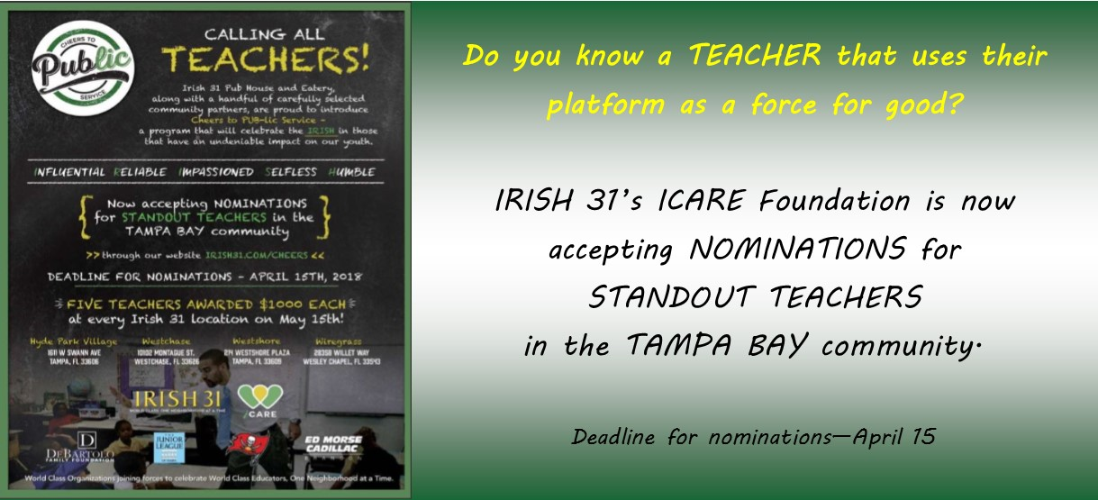 Image for IRISH 31's ICARE FOUNDATION TO AWARD $20,000 TO TAMPA AREA TEACHERS