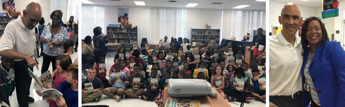 Kenly Elementary second graders were read to by Tony Dungy and his wife.