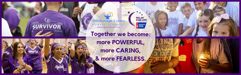Relay for Life Banner - Together we become: more POWERFUL, more CARING, & more FEARLESS