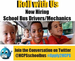 Roll with Us, Now Hiring School Bus Drivers/Mechanics; Join the Conversation on Twitter @HCPSschoolbus #Apply2HCPS