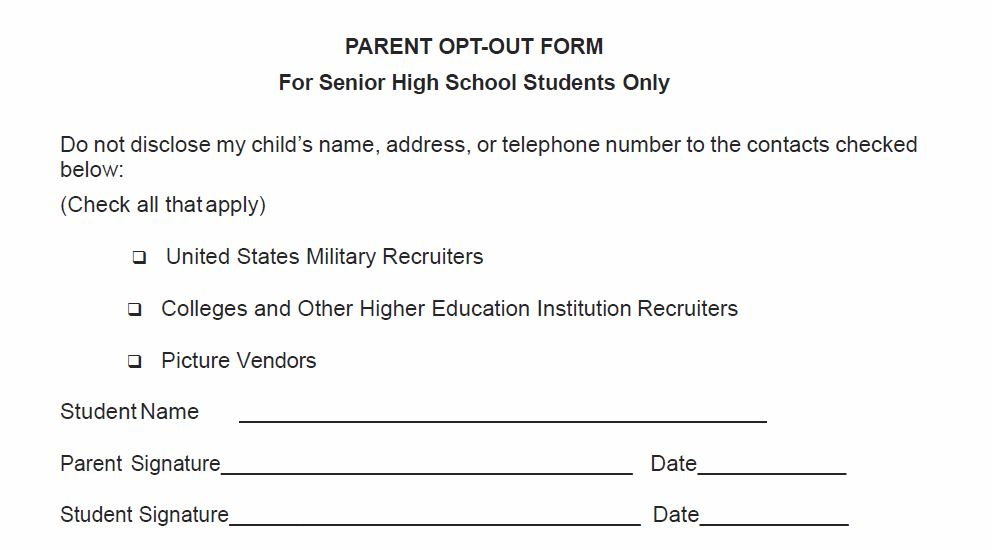 Parent Opt Out Form